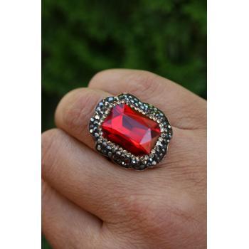 STONEAGE Kristal Kırmızı Taşlı El Yapımı Ayarlanabilir Bayan Yüzük
