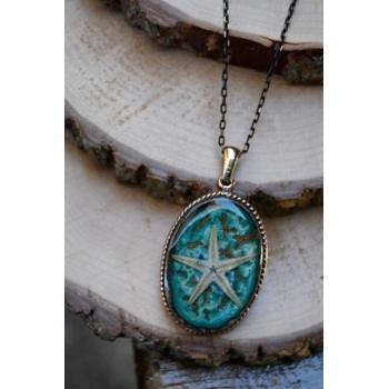 STONEAGE JEWELLERY Gerçek Gerçek Deniz Yıldızı El Yapımı Bayan Kolye