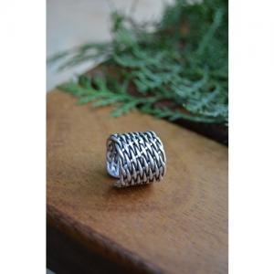 STONEAGE Antik Gümüş Bayan Bohem Yüzük Ayarlanabilir Boyut