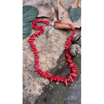 STONEAGE Hediye Bayan Kolye Doğal Taş Kırmızı Mercan