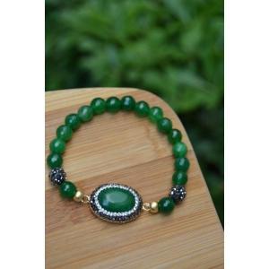 STONEAGE Yeşil Bayan Bileklik Yeşim Jade Ceyt Doğal Taş Özel Tasarım Yerli Üretim Türk Malı