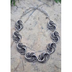 STONEAGE Bayan Kolye Yapraklı Bohem Vintage Hint Gümüşü Gerdanlık Yerli Üretim Türk Malı