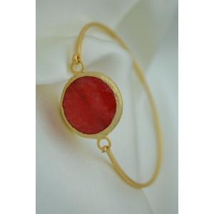 STONEAGE Altın Kaplama Bayan Bileklik Bilezik Kırmızı Jade Taşlı