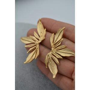 STONEAGE Altın Kaplama Lilyum Çiçeği Yaprak Formu
