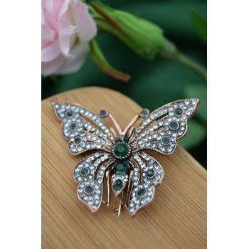 STONEAGE Kelebek Broş Zümrüt Taşlı Yaka İğnesi
