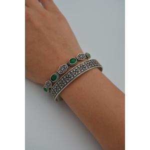 STONEAGE Bayan Bileklik Yeşil Bohem İkili Antik Gümüş