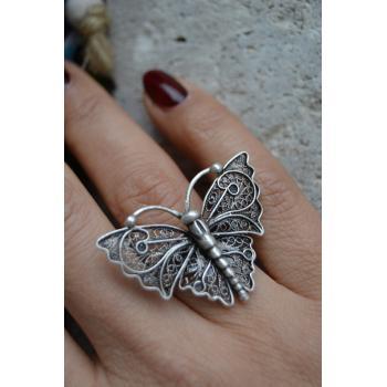 STONEAGE Bayan Kelebek Yüzük Bohem Hint Gümüşü Ayarlanabilir