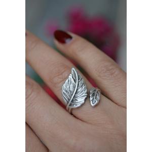 STONEAGE Yaprak Bayan Bohem Yüzük Ayarlanabilir Her Parmağa Uyar Hint Gümüşü