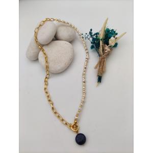 STONEAGE İnci ve Lapis Lazuli Taşlarından Şifa Kolyesi